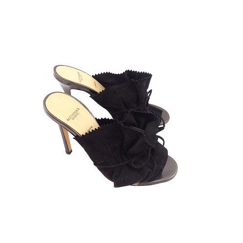 Alexander White 'Eloisa' Black Suede / Specchio Leather
