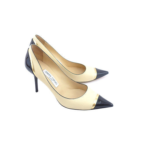 Jimmy Choo 'Lumina' Bone Nappa / Gold Metallic / Black Patent