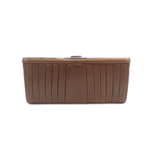 Christian Louboutin 'Keops' Brown Pleated Leather Clutch Bag