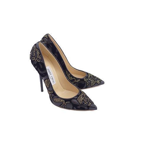 Jimmy Choo 'Anouk' Black Flocked Leather with Studs