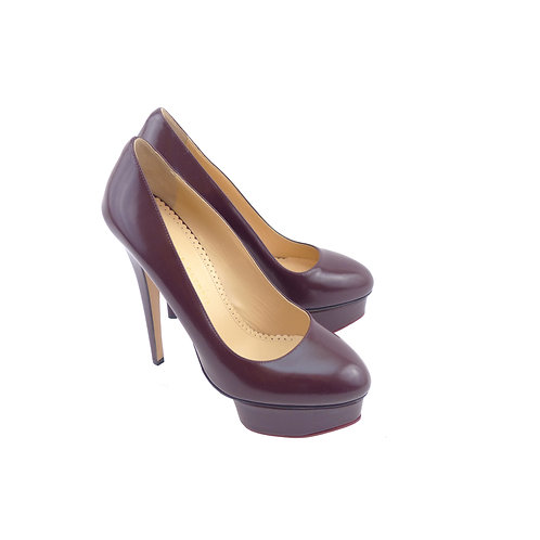 Charlotte Olympia 'Cut It Out Dolly' Burgundy Polished Calfskin Leather
