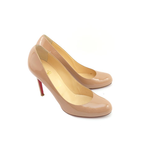 Christian Louboutin 'Simple Pump' 100 Nude Patent Leather
