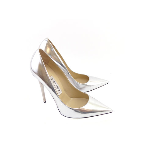 Jimmy Choo 'Anouk' Silver Mirror Leather