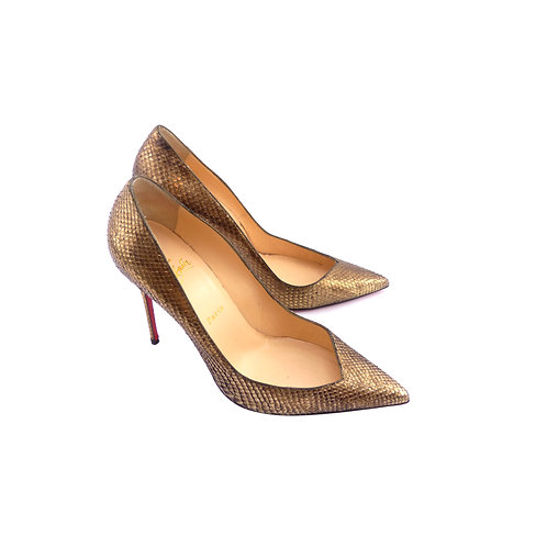 Christian Louboutin 'Completa' 100 Antique Gold Python Cosmo