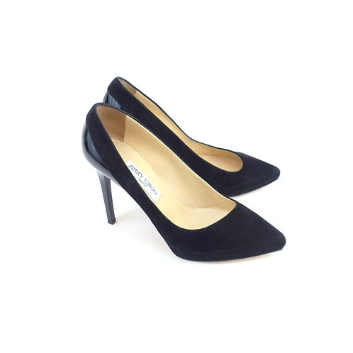 Jimmy Choo 'Rudy' Black Suede & Patent Leather