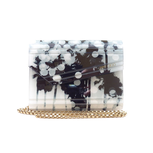 Jimmy Choo 'Candy' Black & White Palm Print Acrylic Clutch Bag