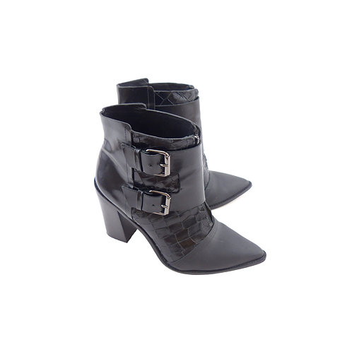 Tibi 'Piper' Black Croc Embossed/Leather/Rubberised Ankle Boots