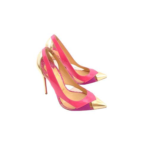 Christian Loboutin Galata 120 Pinky Patent / Gold Metallic Gloss / Pinky Satin