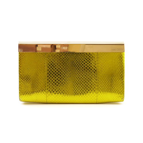 Jimmy Choo 'Cayla' Citrine Metallic Watersnake Clutch Bag