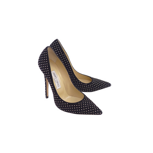 Jimmy Choo 'Anouk' Black Suede With Silver Mini Studs