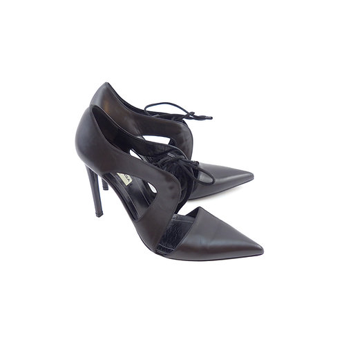 Balenciaga Black Lace Up Satin Calfskin Leather