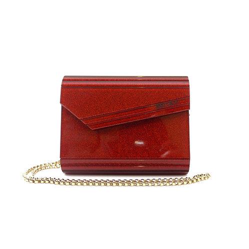 Jimmy Choo 'Candy' Red Glitter Acrylic Clutch Bag