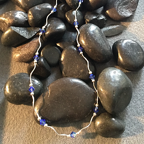 Sterling Silver Necklace with Crystals