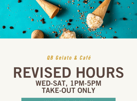 REVISED HOURS - QB GELATO & CAFE