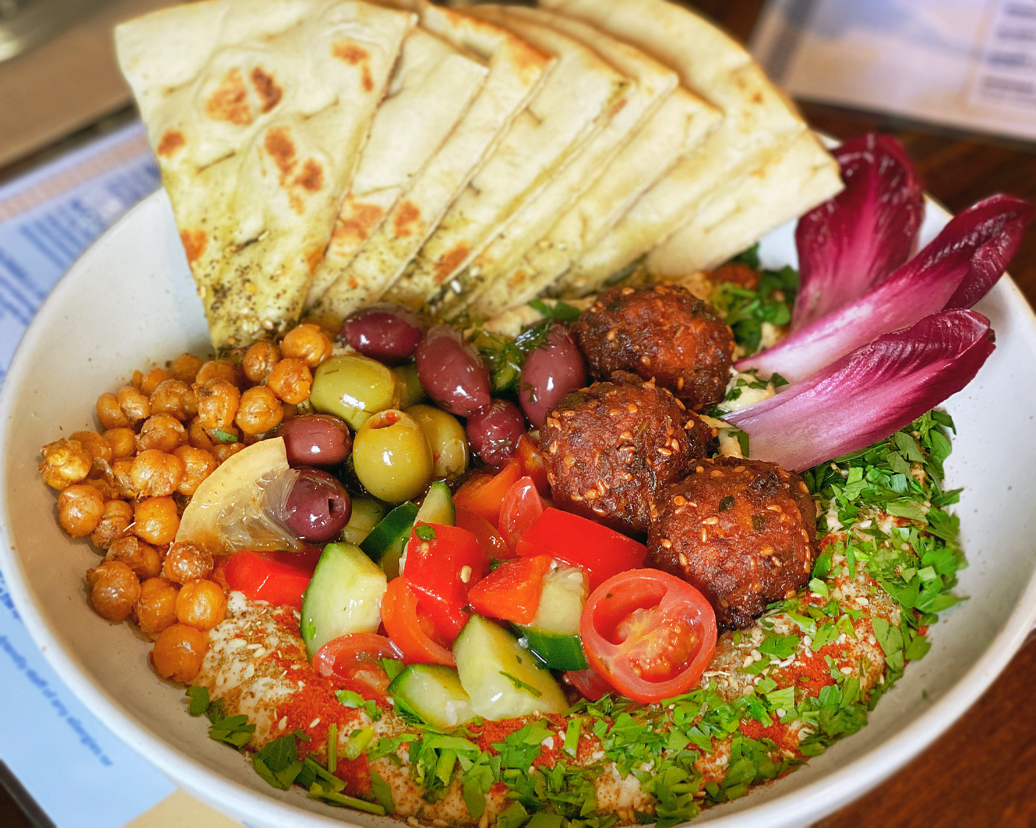BRUNCH: Hummus bowl with crispy carrot falafels