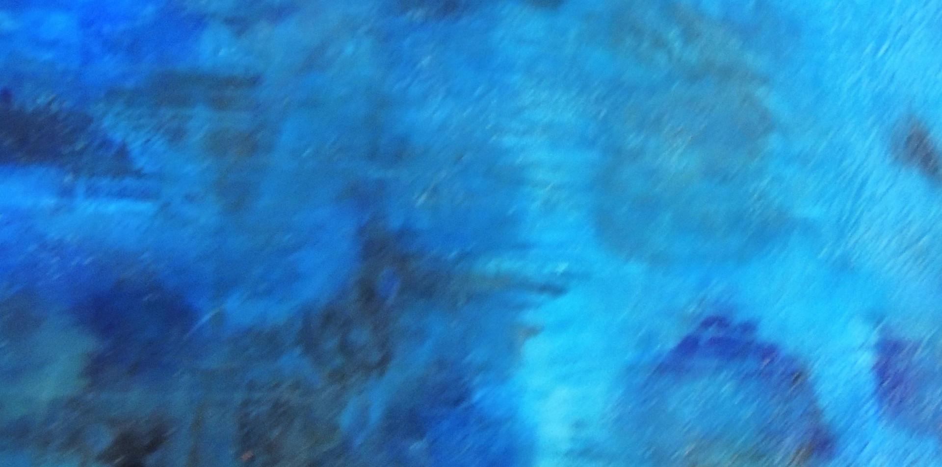 Nuances de bleu  Acrylic, ink, pigments, structure paste and ceramic stucco on canvas./Acrylique, encre, pigments, stucc et pate a structure sur toile. 100X80X4cm