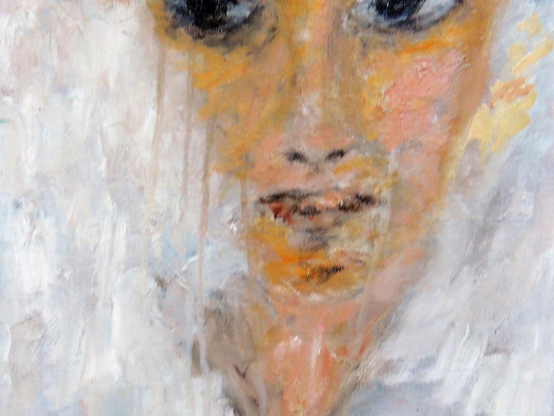 "Oil and impasto on paper./Huile et impasto sur papier,2020 24x30x0.2 cm Part of my collection ""People and portraits"""
