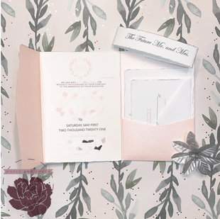 Light Pink Pocket Envelope With Deckled Edge and Belly Band