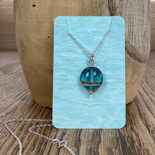 Beach Art Glass Mini Lentil Pendant