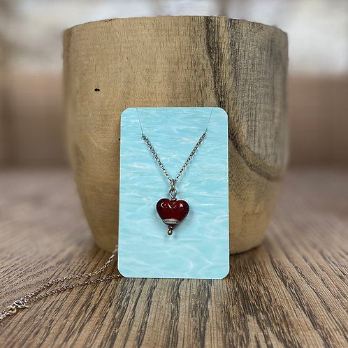 Beach Art Glass Mini Heart Pendant
