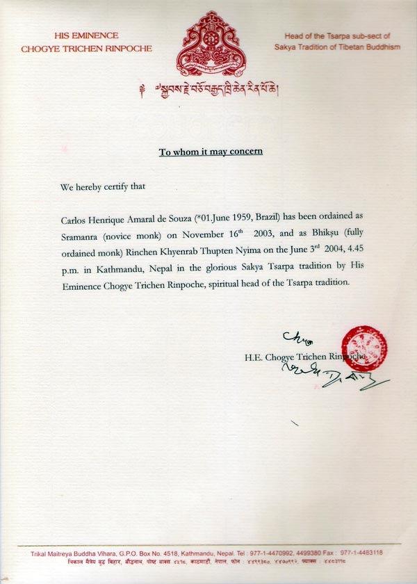 Carta de consagração