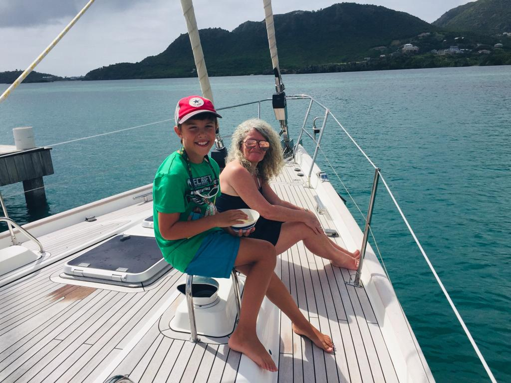 Freddie & Bec on the Foredeck