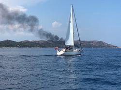 Distant Superyacht fire