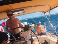 Day sail to the Pitons - Jake at the hel