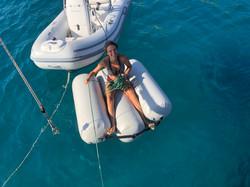 Jo tests the Fender-raft