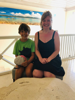 Freddie with Mrs Ricketts in St Lucia