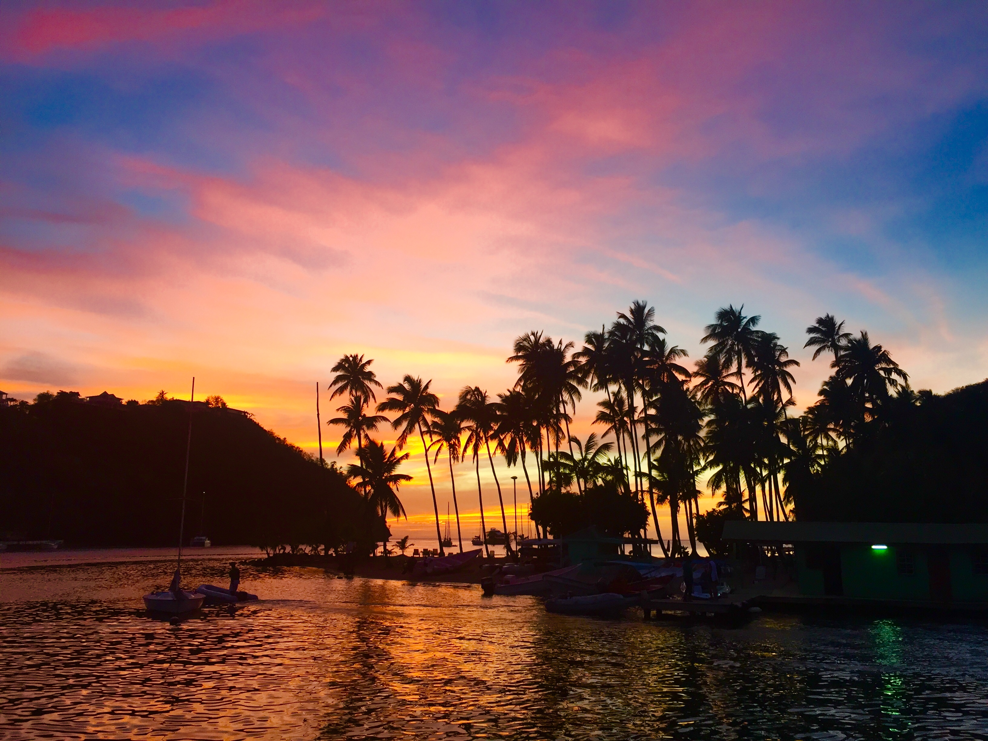 Arriving to a Marigot Bay Sunset