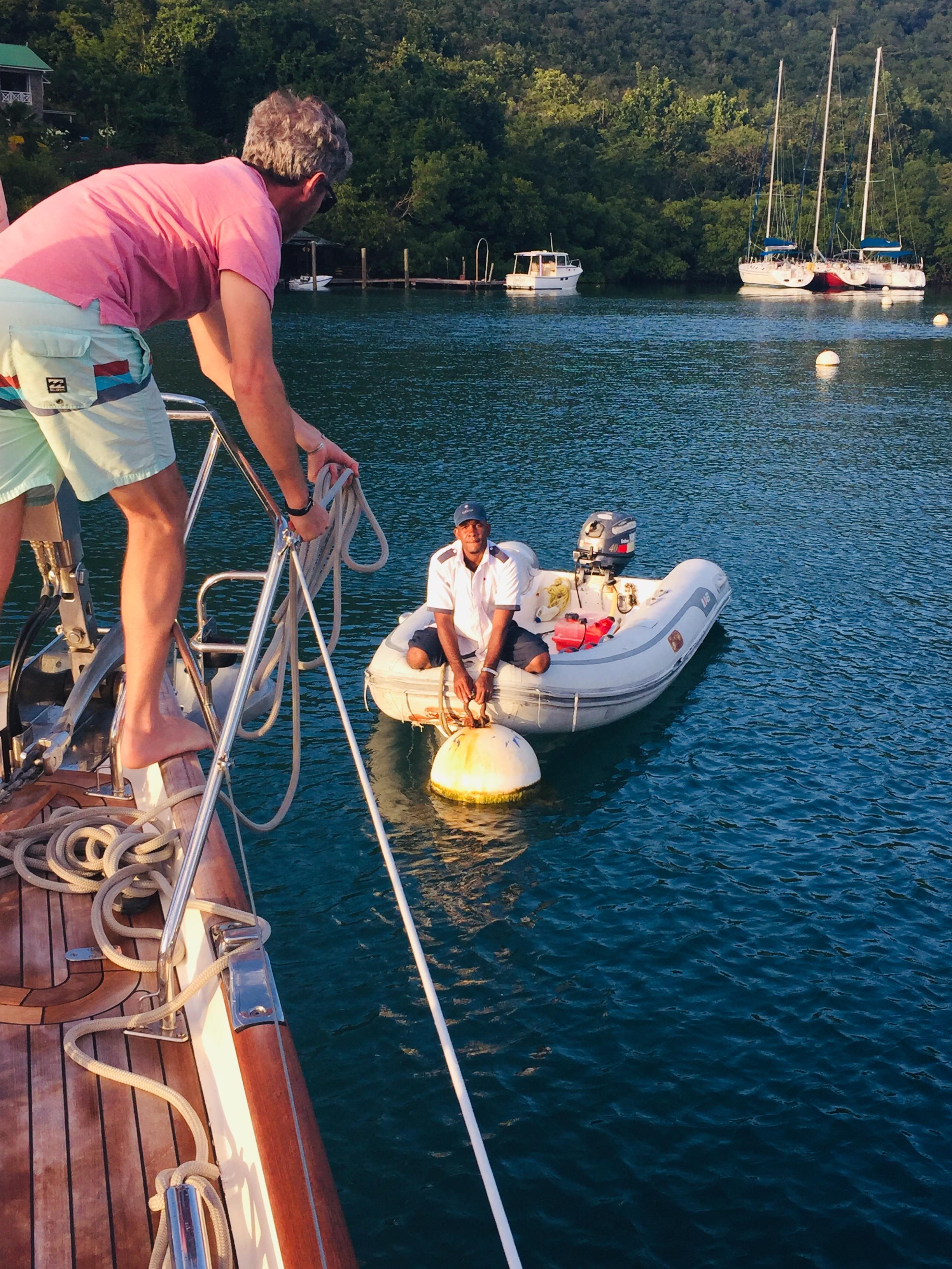 Matt on the lines in Marigot Bay