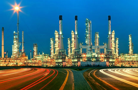 beautiful lighting of oil refinery plant