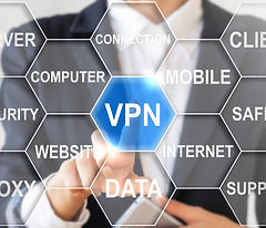Businessman touched vpn sign. Virtual pr