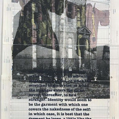 "Haints#3: This piece combines images from internment camps, houses being moved in Fillmore, and a James Baldwin quote from ""The Devil Finds Work""."