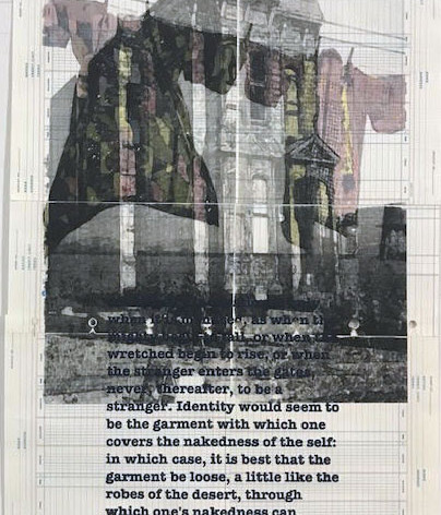 """Haints#3: This piece combines images from internment camps, houses being moved in Fillmore, and a James Baldwin quote from """"The Devil Finds Work""""."""