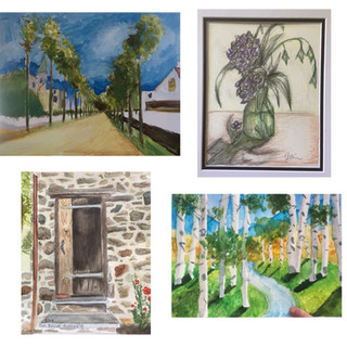 Watercolor and Acrylic Paintings and Colored Pencil