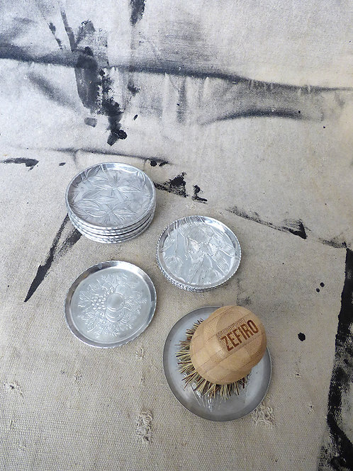 Vintage Aluminum Scrub Brush Dish