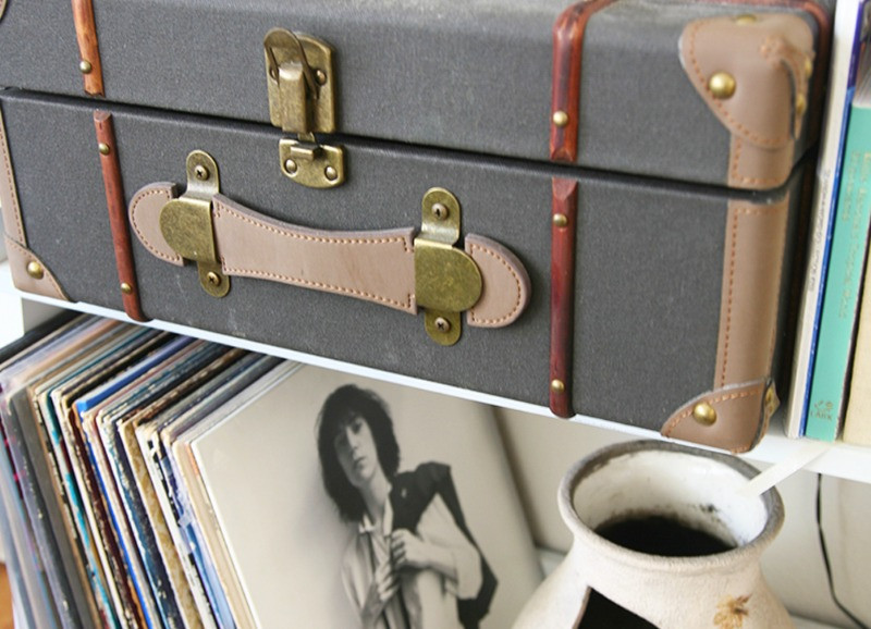 crossley record player and vinyl albums