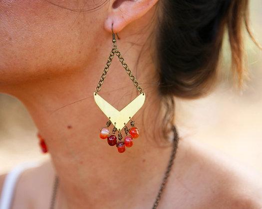 CARNELIAN FRINGE EARRINGS