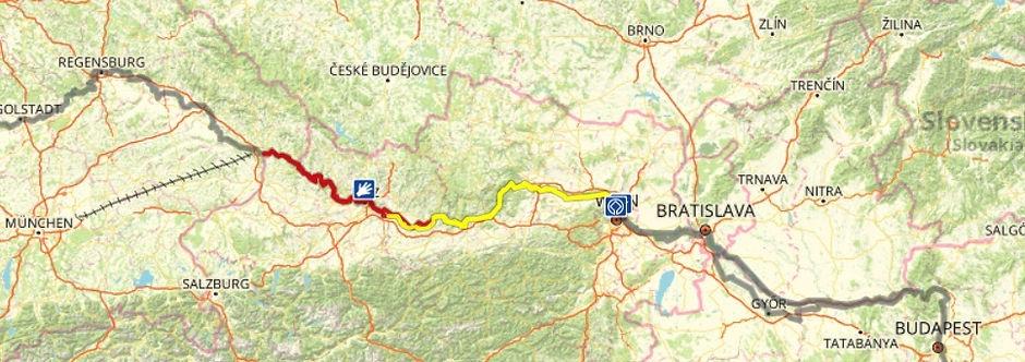 MAP - EuroVélo 6 D1-D7 Munich-Budapest.j