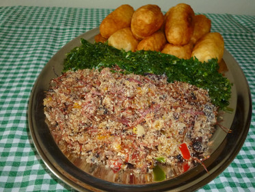 Farofa of dried meat and rice balls