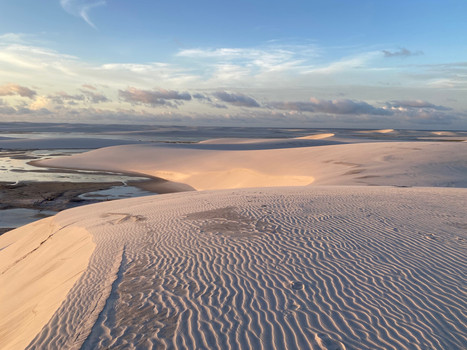 The light at the end of the day reveals pretty color contrasts from the top of the dunes...
