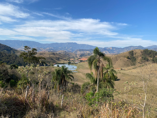 The fazenda, with its lake and its hills...