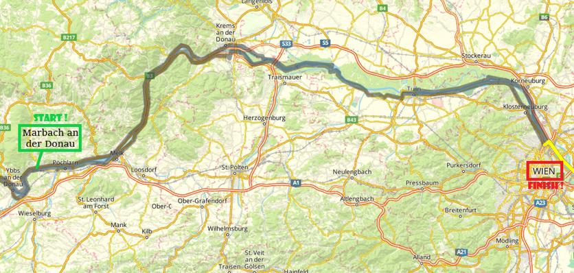 Marbach an der Donau-Vienna, 130 km by bike (Day 3)