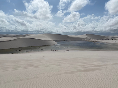Approaching the ocean, the lagoons become more sparse, the dunes gradually flatten...