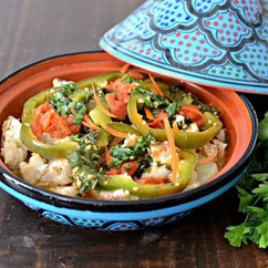 Tagine with fish and vegetables