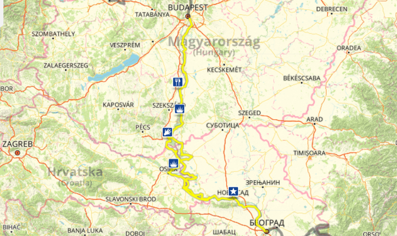 MAP - EuroVélo 6 D1-D7 Budapest-Belgrade