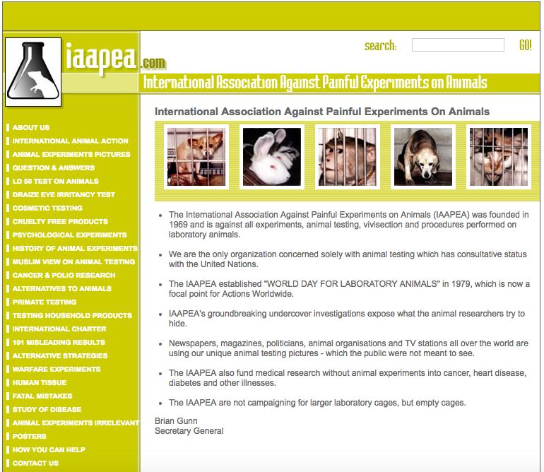 Сайт зоозащитной организации IAAPEA