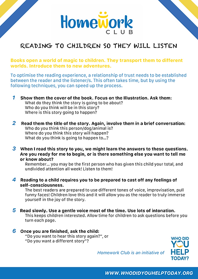 Reading to children so they will listen